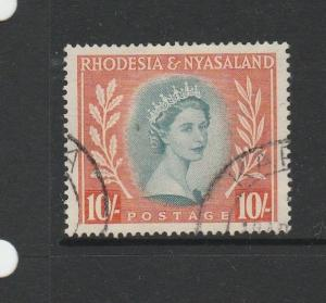 Rhodesia & Nyasaland 1954/6 10/- FU SG 14