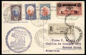 San Marino 12L Graf Zeppelin Italy Flight 2nd South America Rome Reg Cover 91873