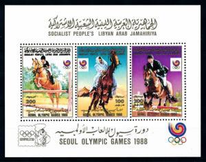 [92233] Libya 1988 Olympic Games Seoul Equestrian Horse Sheet MNH