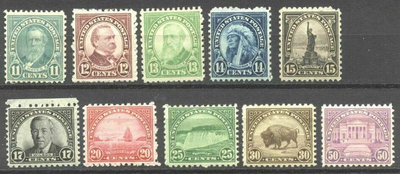 [M16]   US #692-701 MNH OG Rotary Press SET w/ Compound [11X10.5] Perforations