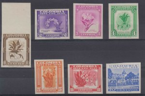 COLOMBIA 1949 UPU ANNIVERSARY Sc 580-586 FULL SET IMPERF PROOFS MNH F,VF ORCHIDS