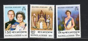 BANGLADESH #123-125    1977 QEII SILVER JUBILEE  MINT  VF NH  O.G