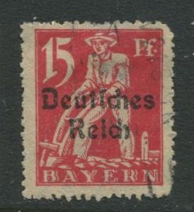 Bavaria -Scott 258 - Deutsches Reich Overprint -1920 - Used - 15pf Stamp