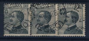ITALY - 1928 - 30c SLATE-GREY STRIP OF 3 USED IN RHODES, EGEAN SEA