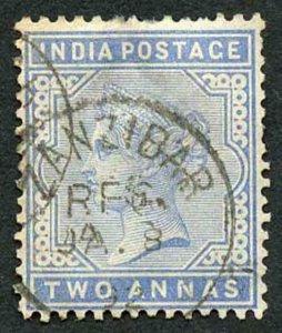 Zanzibar SGZ85 1882-90 India 2a Blue 8 Jan 92 with CDS (type Z6) Used