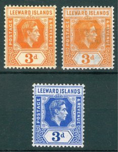 Leeward Is 1938 3d Orange shades + Blue SG 107-108 Sc 109,a,125 MLH Cat£35($45)
