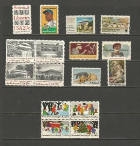USA Postal Stamps MNH 1982 Commemoratives (16 stamps)