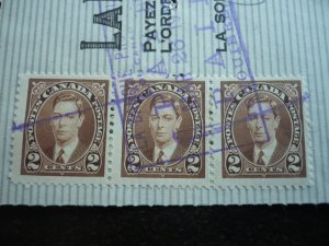 Canada - Revenue - KGVI Mufti Issue Stamps on cheque dated 1943
