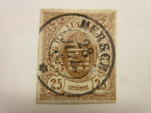 LUXEMBOURG  Scott  9  (2 pin holes)  USED  (4 margins)  LotX  Cat $275