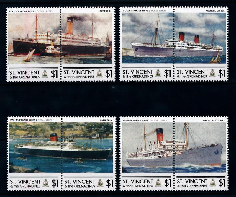 [76039] St. Vincent & Gren.  Famous Ships Ocean Liners Steamers 4 Pairs MNH