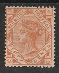 MAURITIUS 1883 QV 50C ORANGE