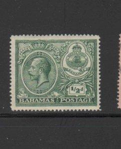 BAHAMAS #65  1925  1/2p KING GEORGE V & SEAL OF BAHAMAS   MINT VF LH  O.G