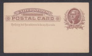 US Sc UX8 mint 1885 1c brown Jefferson Postal Card