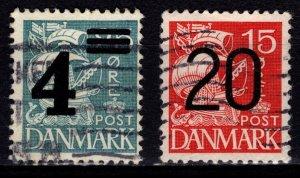 Denmark 1934/1940 Caravel Def. Optd., quadrille background [Used]