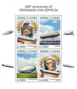 SIERRA LEONE - 2018 - Ferdinand von Zeppelin - Perf 4v Sheet - M N H