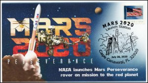 20-170, 2020,Mars 2020, Event Cover, Pictorial Postmark, Launch, Cape Canaveral