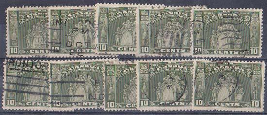 Canada USC #209 Used (10) 1934 Loyalists - F-VF Cat. $64.