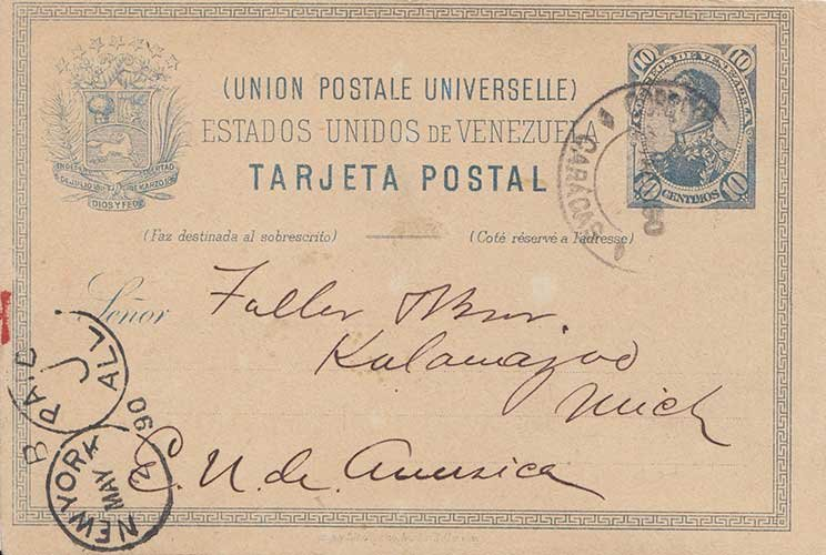 Venezuela 10c San Martin Postal Card 1890 Correos, Caracas to Kalamazoo, Mich...