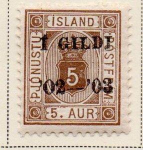 Iceland Sc O26 1902 5 aur official stamp overprinted  mint