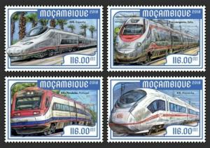 Mozambique - 2018 European Speed Trains - Set of 4 Stamps - MOZ18209a