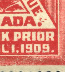 FM1 Canada block of fourwith three extraneous lines or dots above the period