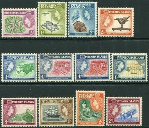 PITCAIRN ISLANDS-1957-63 Set to 2/6 Sg 16-28 LIGHTLY MOUNTED MINT V34499