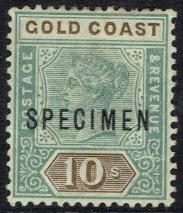 GOLD COAST 1898 QV SPECIMEN 10/-