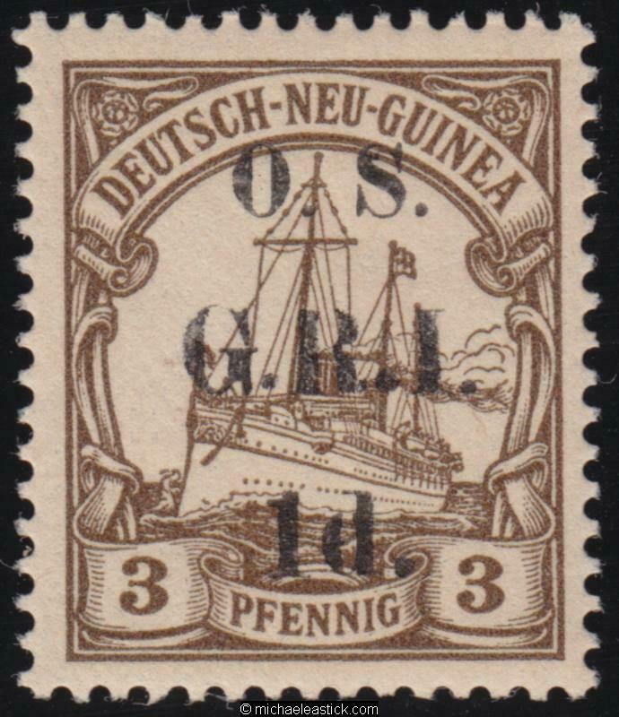 1914 New Guinea 1d on 3pf Brown GRI overprint OS, SG 01, MH