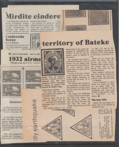 1980-2005 About 50 Clippings of articles on Cinderellas, Locals & Forgeries