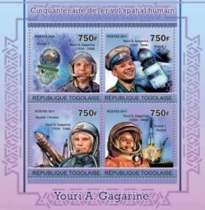 Togo - Human Spaceflight, Yuri Gagarin - 4 Stamp  Sheet 20H-212