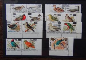 Aitutaki 1983 Bird Surcharges set to $5.60 on $5.00 MNH