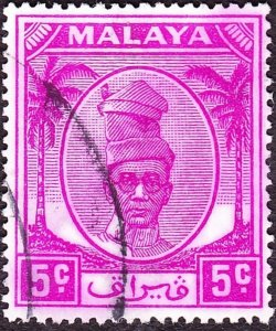 MALAYA PERAK 1952 5c Bright Purple SG132 FU