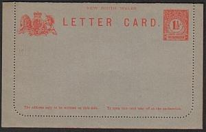 NEW SOUTH WALES 1½d lettercard unused......................................75422