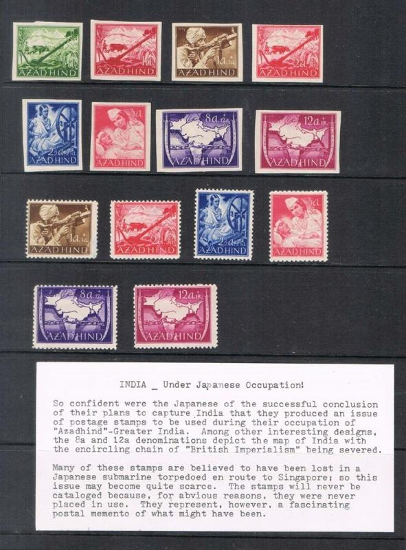 India Japanese Occupation 1942 JSCA imperf. 1-9 and perf. 2-9 MH - Sacrce