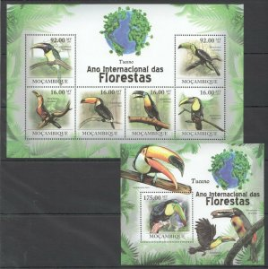 BC1256 2011 MOZAMBIQUE FAUNA FLORESTAS BIRDS TUCANO BL+KB MNH