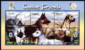 UGANDA 1723 MNH S/S SCV $7.50 BIN $4.50 DOGS