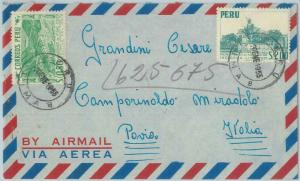 81710  -  PERU - POSTAL HISTORY -   AIRMAIL  COVER to ITALY  1955