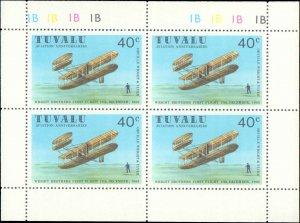 Tuvalu #142-145, Complete Set(4), Blocks of 4, 1980, Airplanes, Never Hinged
