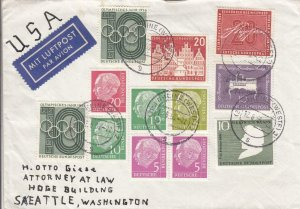 1956, Rheine, Germany to Seattle, WA, Airmail (32217)
