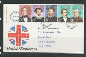 GB FDC 1973 Explorers, Gloucestershire FDI ( listed in Bradbury), Neat Hand