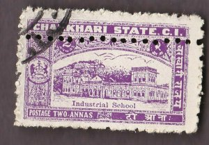 CHARKHARI Stamp ERROR !!!  EXTRA ROW OF PERFORATIONS  (INDIAN STATE)
