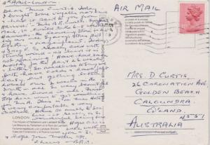 Great Britain 11p QEII London W.I., K3 PPC Airmail to Caloundra, Australia.