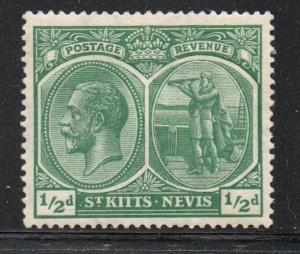 St Kitts- Nevis Sc 24 1920 1/2d green G V & Columbus stamp mint