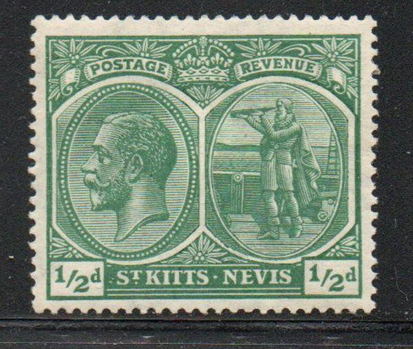 St Kitts- Nevis Sc 24 1920 1/2d green G V & Columbus stamp mint