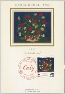 63538 -  FRANCE - POSTAL HISTORY: MAXIMUM CARD 1984 -   Red Cross FLOWERS - SILK