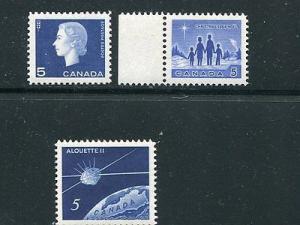 Canada #405, 435, 445 var, VF NH  Analine ink !