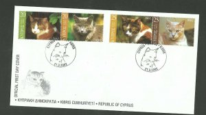 2002    CYPRUS  -  SG:1025/8  - CATS  - FIRST DAY COVER