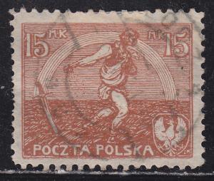 Poland 155 Used 1921 Sower & Rainbow of Hope 15Mk