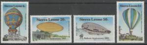 SIERRA LEONE SG755/8 1983 BICENTENARY OF MANNED FLIGHT MNH