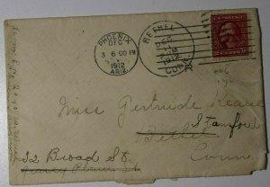 US Sc#406 Used On Cover Bethel CT 1912 Phoenix AZ 1st Year Statehood